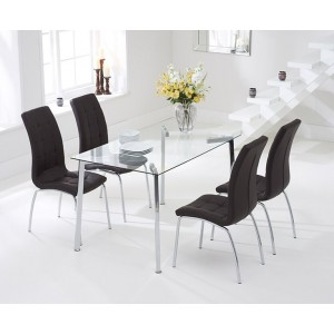 Destiny Glass Dining Table In Clear With 4 California Brown Chairs