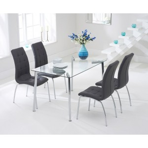 Destiny Glass Dining Table In Clear With 4 California Grey Chairs