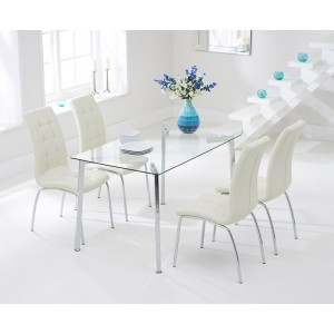 Destiny Glass Dining Table In Clear With 4 California Cream Chairs