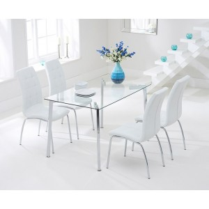 Destiny Glass Dining Table In Clear With 4 California White Chairs