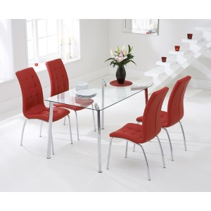 Destiny Glass Dining Table In Clear With 4 California Red Chairs