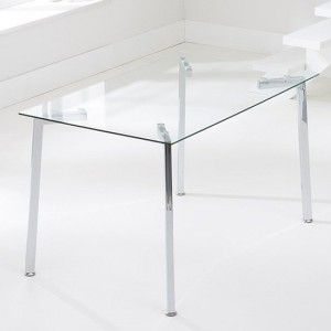 Munich Glass Dining Table With Chrome Stainless Steel Legs