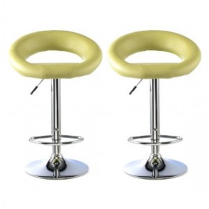Murry Lime Faux Leather Bar Stools In Pair With Chrome Base