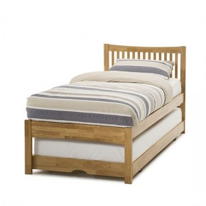 Mya Wooden Single Bed With Guest Bed In Honey Oak