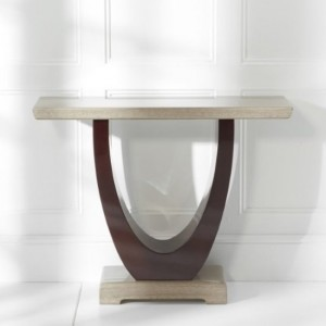Memphis Marble Console Table Rectangular In Light And Dark Brown