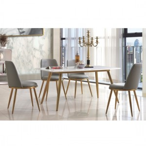 Namibia Marble Dining Set With 4 Grey Fabric Chairs