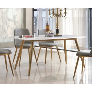 Namibia Marble Dining Table In White With Gold Stainless Steel Legs