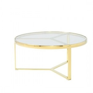 Naomi Clear Glass Coffee Table In Gold Strainlees Steel Frame