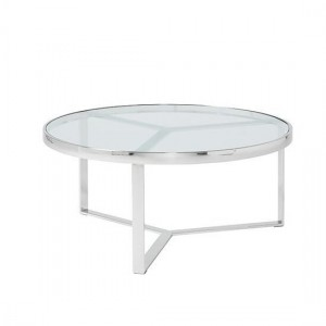Naomi Clear Glass Coffee Table In Silver Strainlees Steel Frame