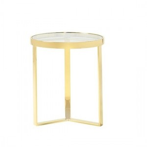 Naomi Clear Glass Lamp Table In Gold Strainlees Steel Frame