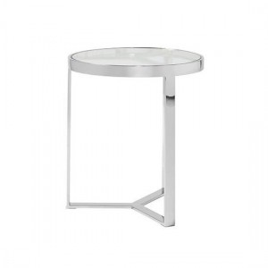 Naomi Clear Glass Lamp Table In Silver Strainlees Steel Frame