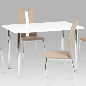 Naomi Wooden Dining Table In White High Gloss With Chrome Legs