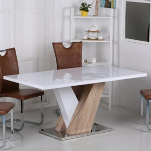 Natalie Wooden Dining Table White High Gloss And Natural