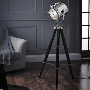Nautical Floor Lamp In Polished Nickel And Black Wooden Legs