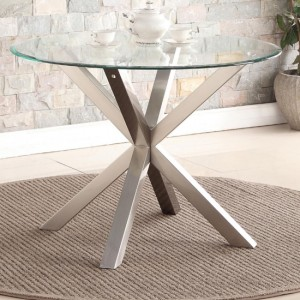 Nelson Glass Dining Table With Brushed Stainless Steel Legs