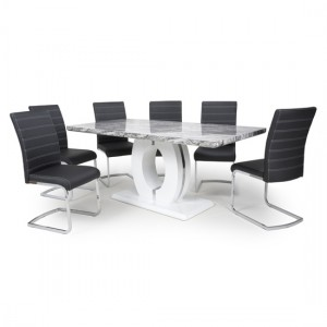 Neptune Large Gloss Grey White Marble Effect Dining Table With 6 Callisto Black Leather Dining Chairs