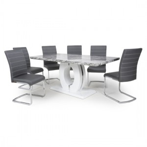 Neptune Large Gloss Grey White Marble Effect Dining Table With 6 Callisto Grey Leather Dining Chairs