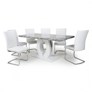 Neptune Large Gloss Grey White Marble Effect Dining Table With 6 Callisto White Leather Dining Chairs