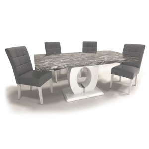 Neptune Large Gloss Grey White Marble Effect Dining Table With 6 Moseley Silver Grey Linen Dining Chairs
