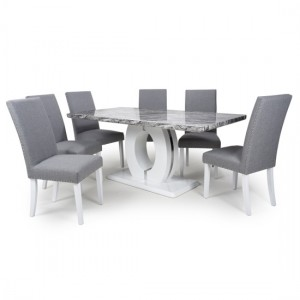 Neptune Large Gloss Grey White Marble Effect Dining Table With 6 Randall Silver Grey Linen Dining Chairs