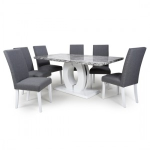 Neptune Large Gloss Grey White Marble Effect Dining Table With 6 Randall Steel Grey Linen Dining Chairs