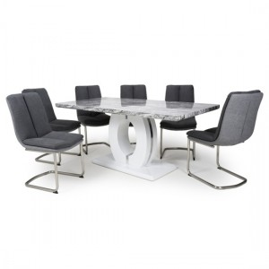 Neptune Large Gloss Grey White Marble Effect Dining Table With 6 Triton Dark Grey Linen Dining Chairs