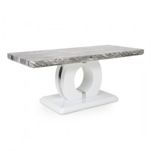Neptune Marble Effect Top Coffee Table In High Gloss Grey And White