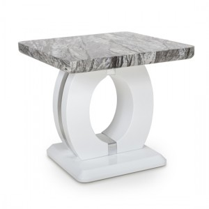 Neptune Marble Effect Top Lamp Table In High Gloss Grey And White