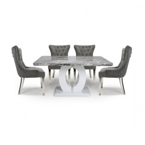 Neptune Medium Dining Set With 4 Lionhead Grey Chairs With Silver Legs