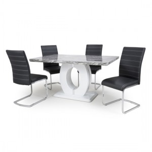 Neptune Medium Gloss Grey White Marble Effect Dining Table With 4 Callisto Black Leather Dining Chairs