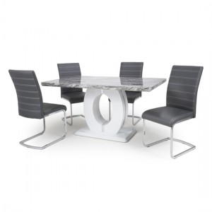 Neptune Medium Gloss Grey White Marble Effect Dining Table With 4 Callisto Grey Leather Dining Chairs
