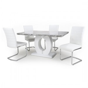 Neptune Medium Gloss Grey White Marble Effect Dining Table With 4 Callisto White Leather Dining Chairs