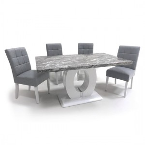 Neptune Medium Gloss Grey White Marble Effect Dining Table With 4 Moseley Silver Grey Linen Dining Chairs