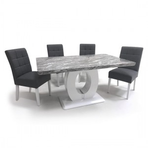 Neptune Medium Gloss Grey White Marble Effect Dining Table With 4 Moseley Steel Grey Linen Dining Chairs