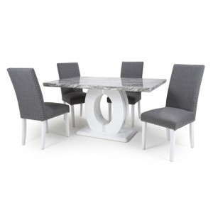 Neptune Medium Gloss Grey White Marble Effect Dining Table With 4 Randall Silver Grey Linen Dining Chairs