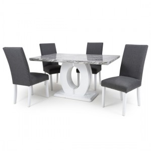 Neptune Medium Gloss Grey White Marble Effect Dining Table With 4 Randall Steel Grey Linen Dining Chairs