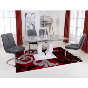 Neptune Medium Gloss Grey White Marble Effect Dining Table With 4 Triton Dark Grey Linen Dining Chairs