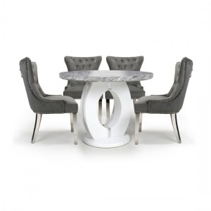 Neptune Round Dining Set With 4 Lionhead Grey Chairs With Silver Legs