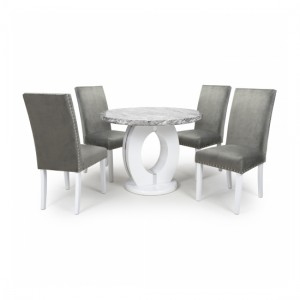 Neptune Round Dining Set With 4 Randall Grey Brushed Velvet Chairs