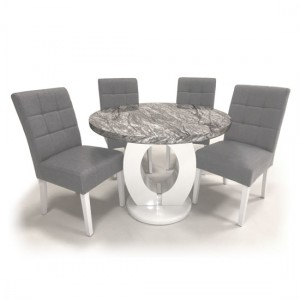 Neptune Round High Gloss Grey And White Marble Effect Dining Table With 4 Moseley Silver Grey Chairs
