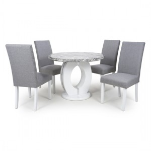 Neptune Round High Gloss Grey And White Marble Effect Dining Table With 4 Randall Silver Grey Chairs