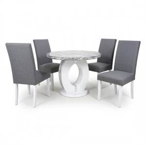Neptune Round High Gloss Grey And White Marble Effect Dining Table With 4 Randall Steel Grey Chairs