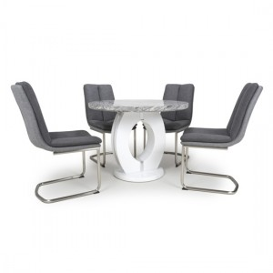 Neptune Round High Gloss Grey And White Marble Effect Dining Table With 4 Triton Dark Grey Chairs