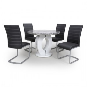 Neptune Round High Gloss Grey And White Marble Effect Dining Table With 4 Callisto Black Leather Chairs