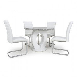 Neptune Round High Gloss Grey And White Marble Effect Dining Table With 4 Callisto Grey Leather Chairs