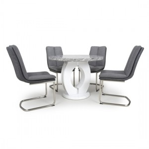 Neptune Round High Gloss Grey And White Marble Effect Dining Table With 4 Triton Light Grey Chairs