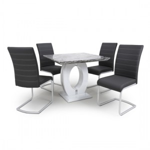 Neptune Square Gloss Grey White Marble Effect Dining Table With 4 Callisto Black Leather Dining Chairs