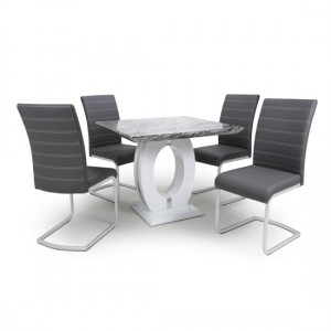 Neptune Square Gloss Grey White Marble Effect Dining Table With 4 Callisto Grey Leather Dining Chairs