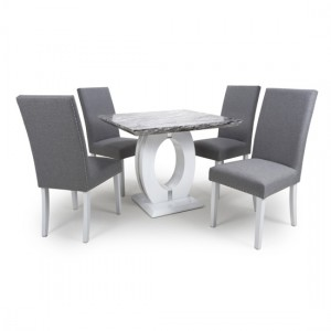 Neptune Square Gloss Grey White Marble Effect Dining Table With 4 Randall Silver Grey Linen Dining Chairs