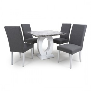 Neptune Square Gloss Grey White Marble Effect Dining Table With 4 Randall Steel Grey Linen Dining Chairs